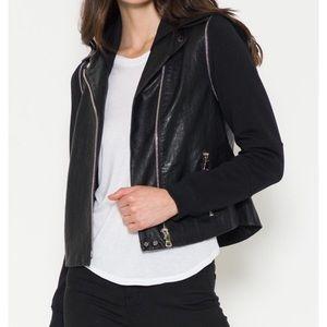 Mixed Media Vegan Leather Jacket